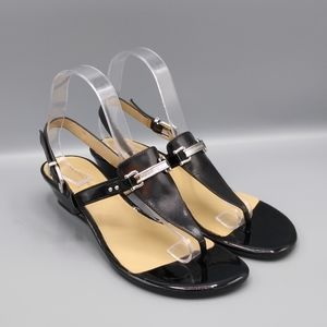 Antonio Melani Black Thong Low Wedge Sandals